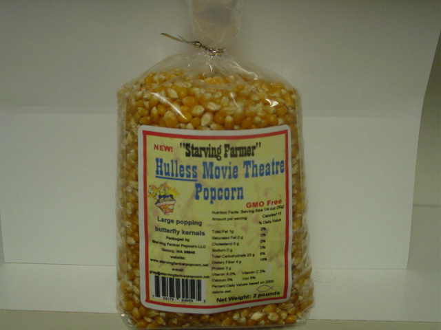 2 pound bag of Yellow Hulless Movie Theatre Popcorn